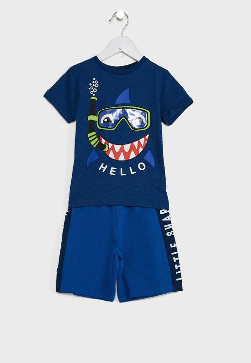 Kids Little Shark T-Shirt & Shorts Set