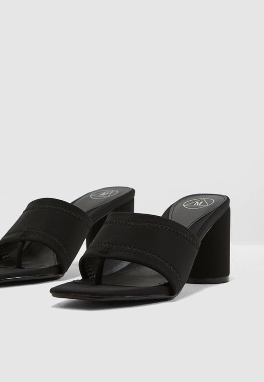 Toe Post Mid Block Mules - Black