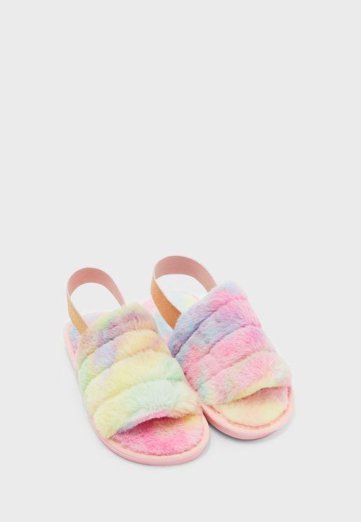 Rainbow Furry Sling back House Slipper