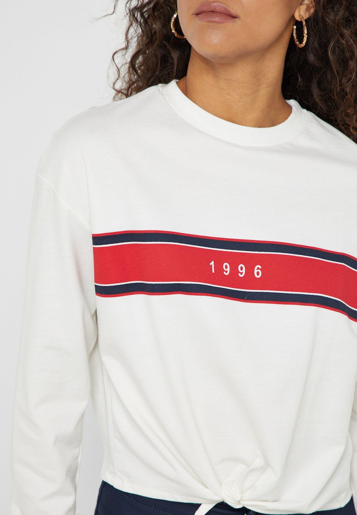 Slogan Tie Hem Sweatshirt