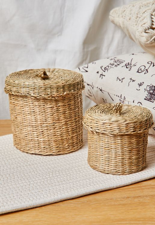 Set Of 2 Seagrass Baskets With Lid