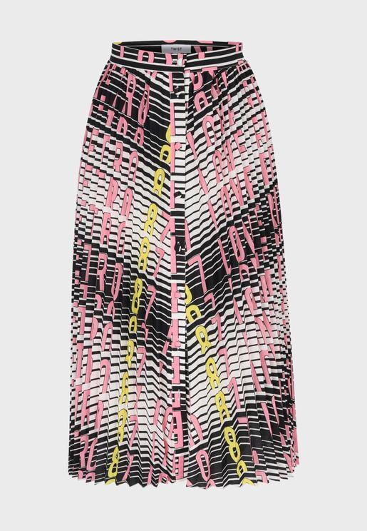 Button Down Printed Skirt