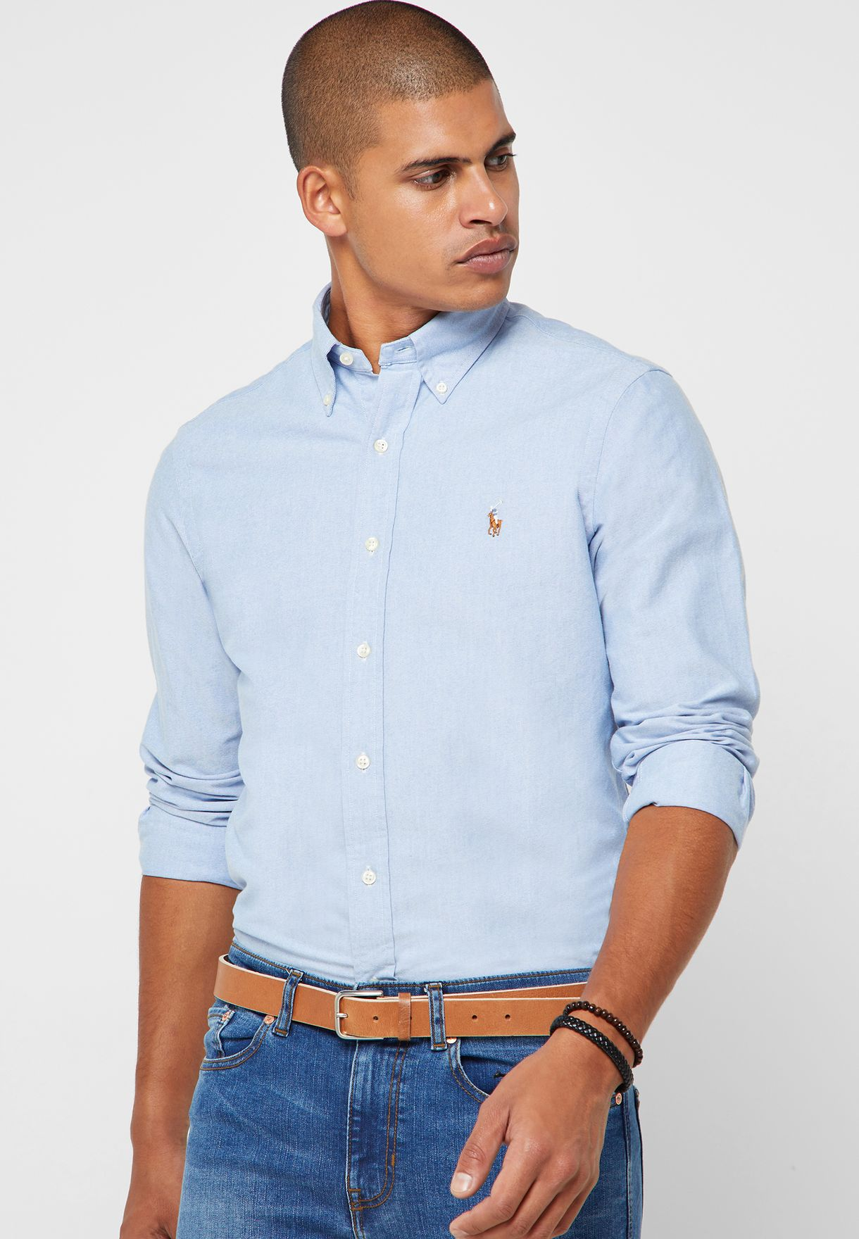 e5c6f98b58 Shop Polo Ralph Lauren blue Classic Fit Oxford Shirt 710548535002 ...