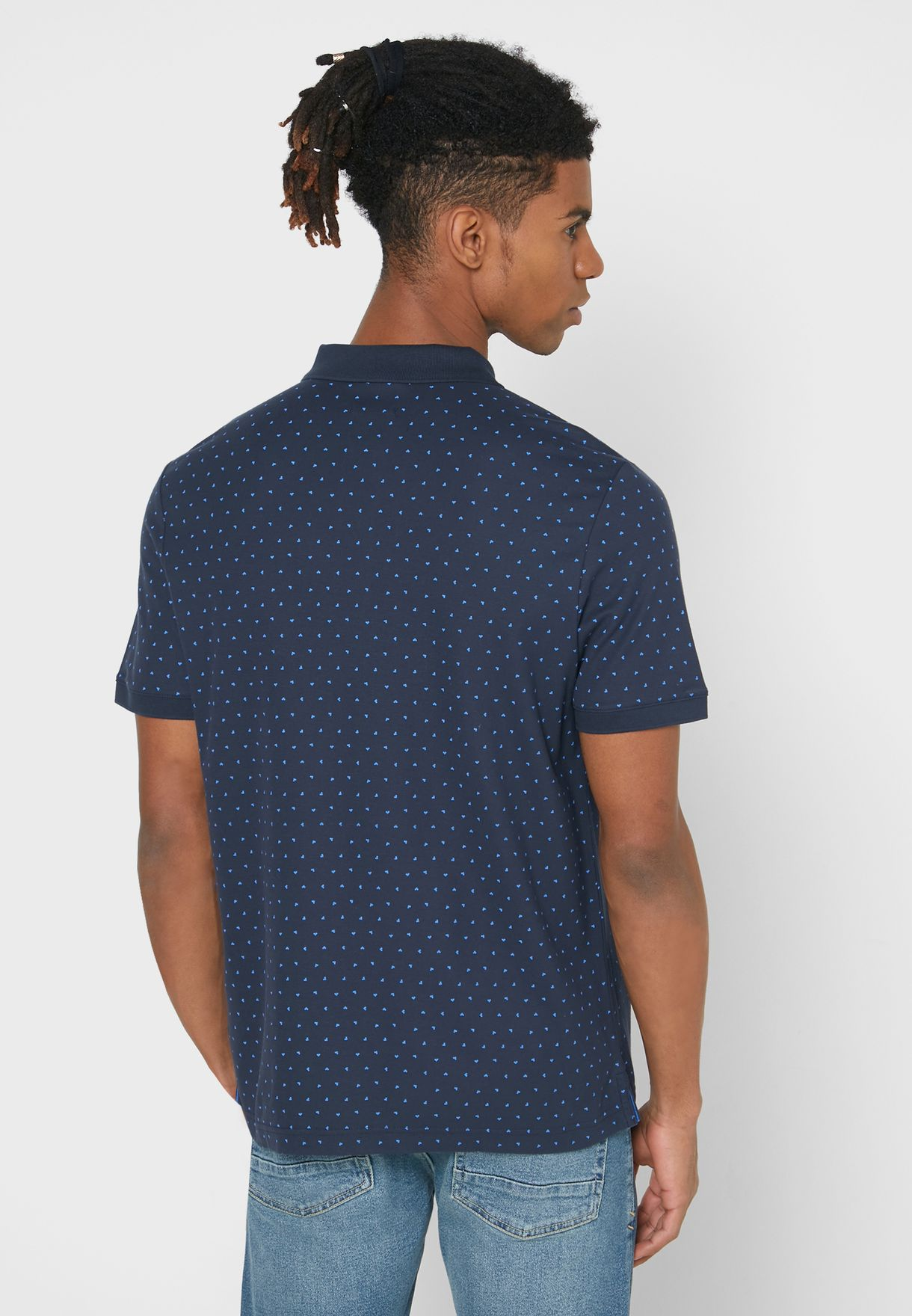 Half Zip Printed Polo