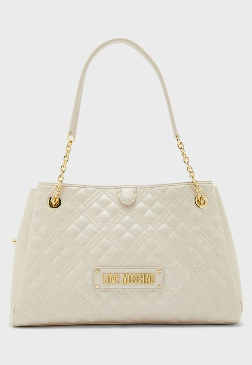 Quilted Zip Closure Tote