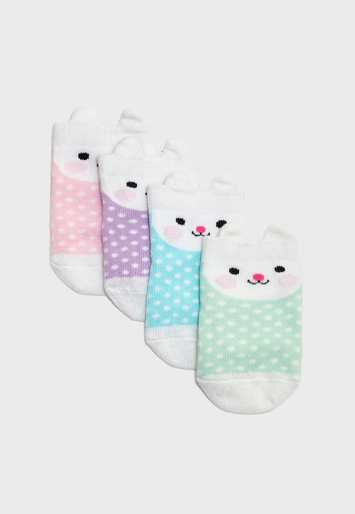 Infant 4 Pack Bonnie Bunny Socks