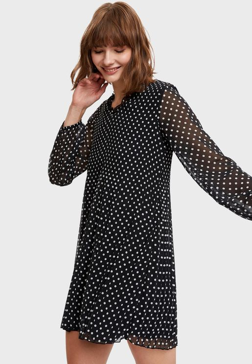Ruffle Detail Polka Dot Dress