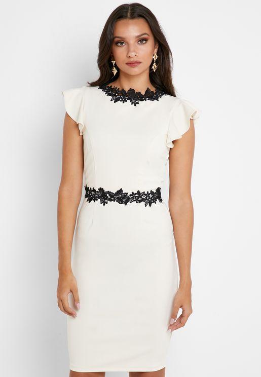 Contrast Trim Ruffle Sleeve Dress