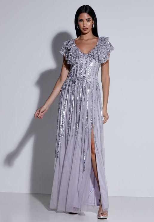 فستان شفاف بالترتر