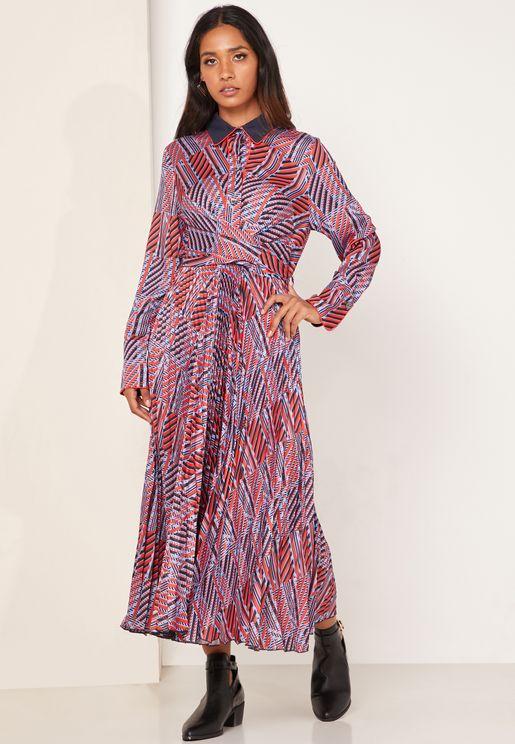 Abito Front Twist Striped Shirt Dress