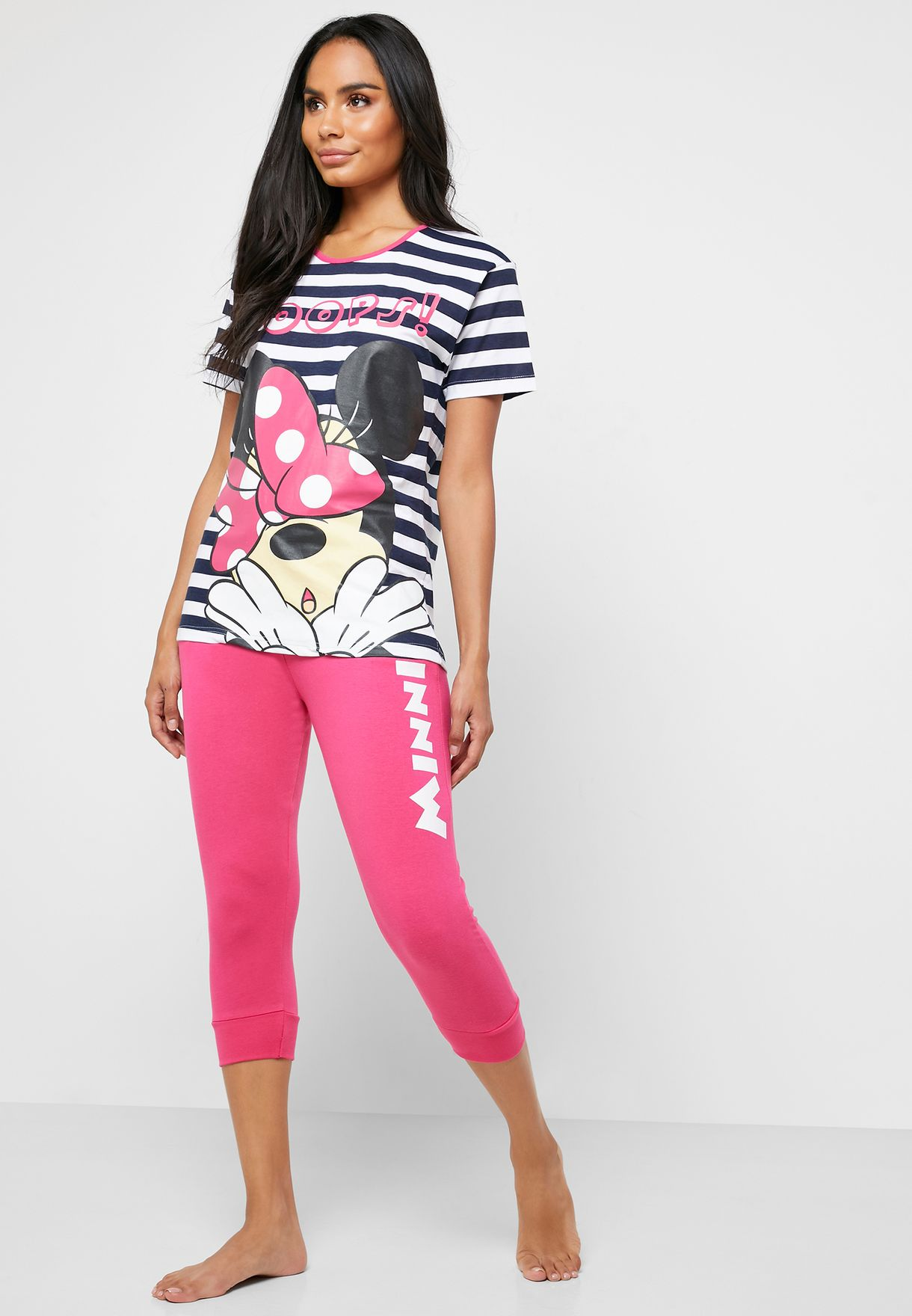 Minnie Printed Striped T-Shirt & Capri Set