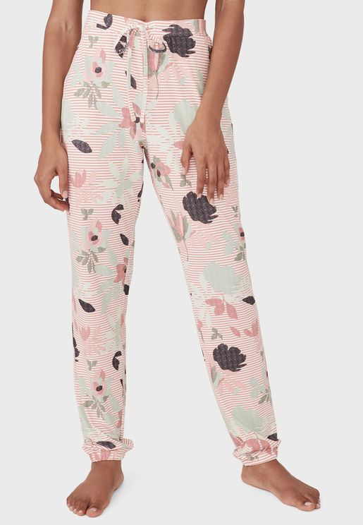 Floral Printed Elastic Waistband Pant