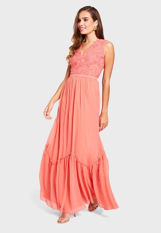Pleated Tiered Hem Dress