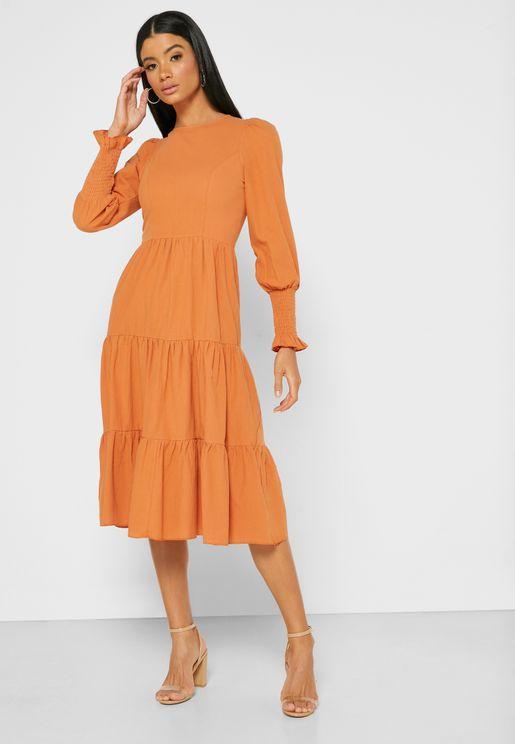 Puffed Sleeve Tiered Midi Dress