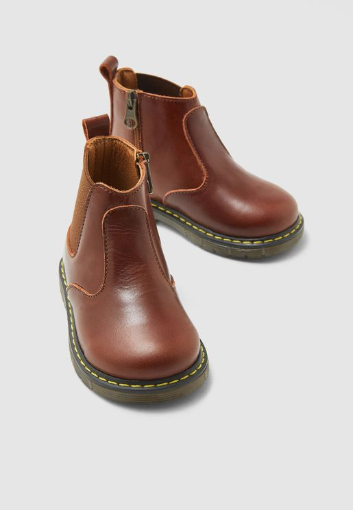 Kids Side Zip Ankle Boots