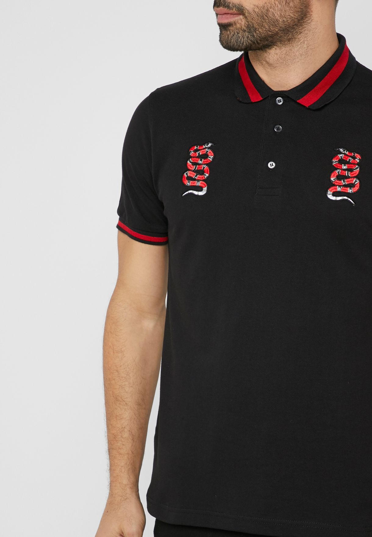 112073eacff Shop Seventy five black Snake Embroidery Polo 75808 for Men in UAE ...