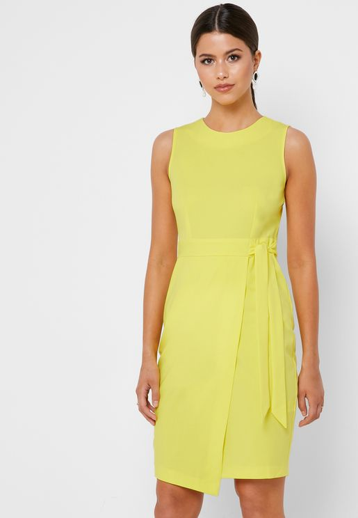 Tie Waist Sleeveless Dress