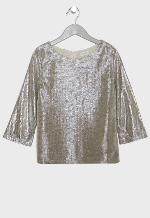 Kids Textured Metallic Top