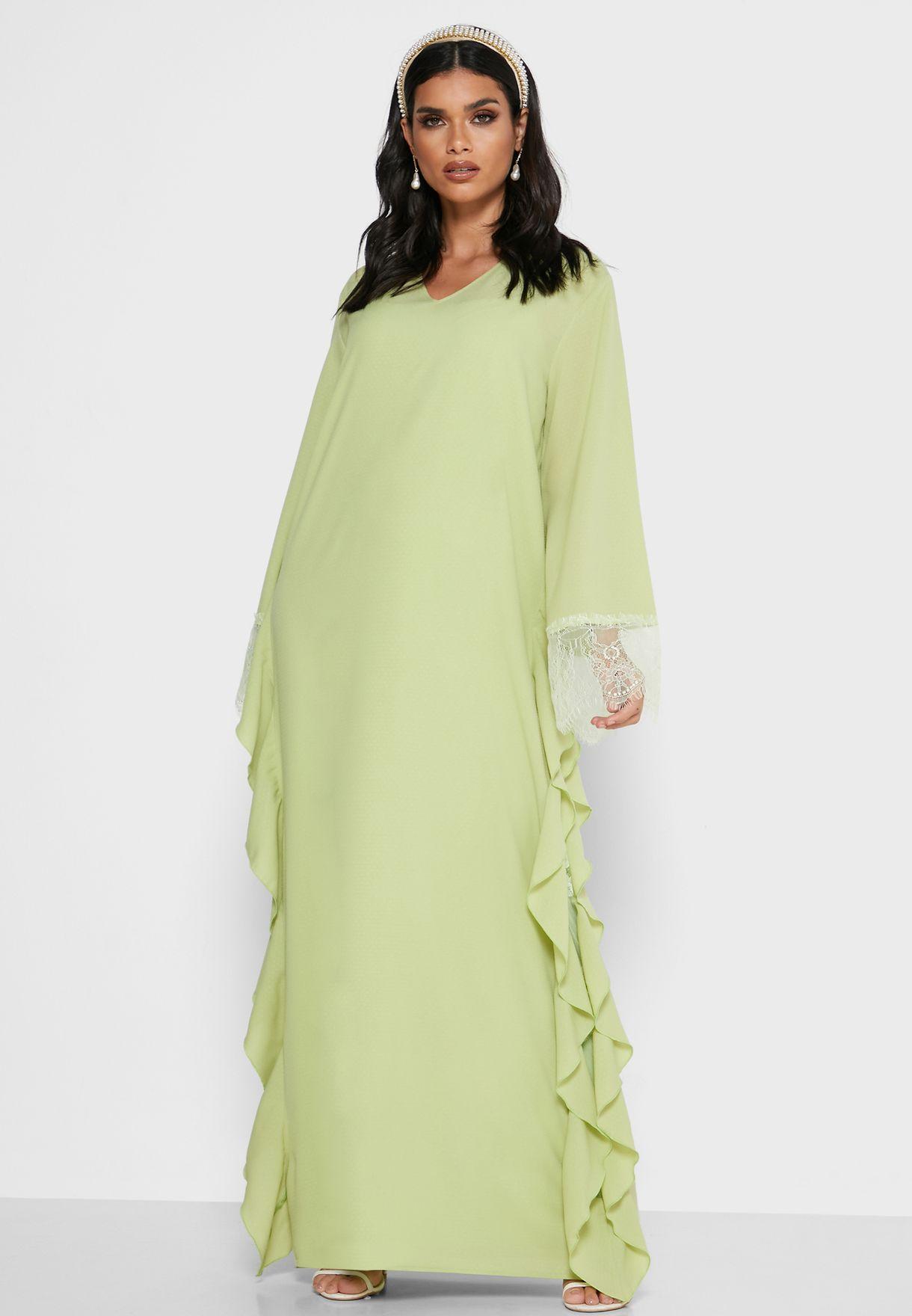 Lace Illusion Waterfall Side Dress