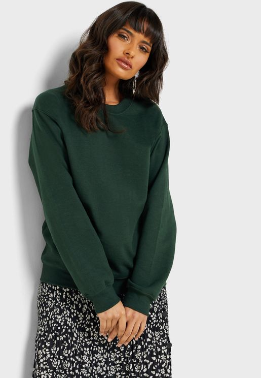 Crew Neck Ribbed Detail Sweatshirt