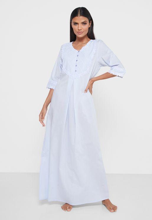 3/4 Sleeves Cotton Nightwear Dress