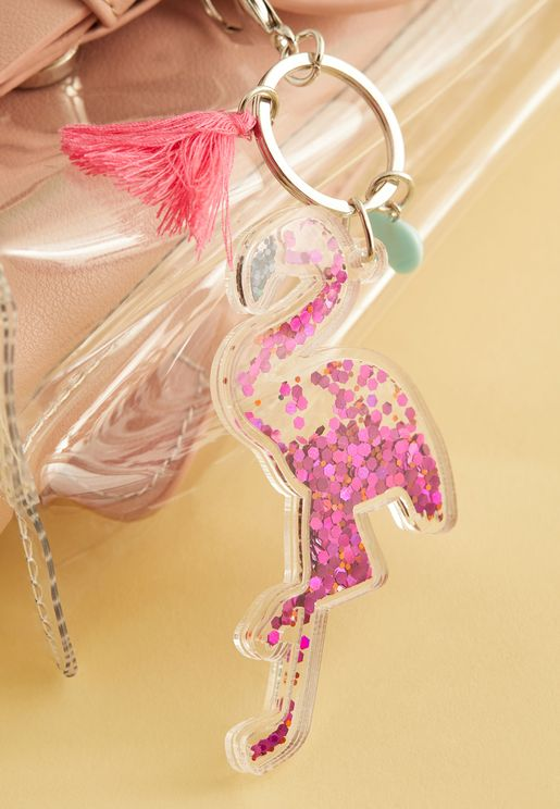 Flamingo glitter keychain