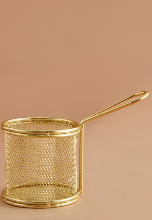 Gold Stainless Steel Serving Basket