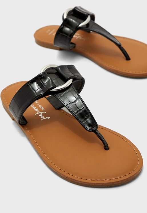 Wide Fit Flack Flat Sandal