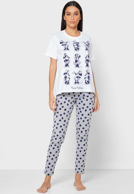 Minnie Print T-shirt and Pjyama Set