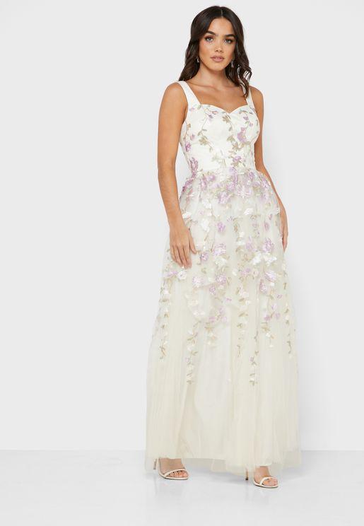 فستان مطبع مطرز