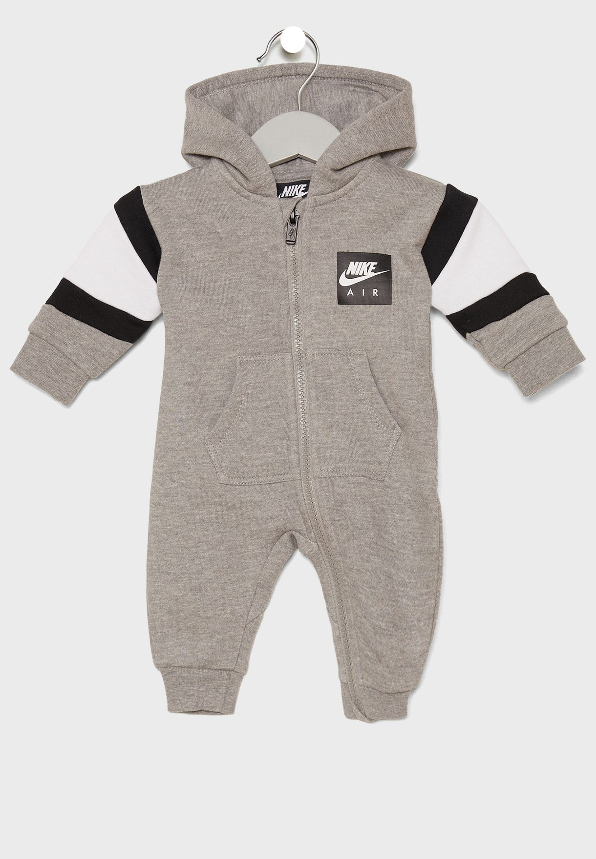 2292366b6466 Shop Nike grey Infant Air Fleece Romper 56E084-042 for Kids in UAE ...
