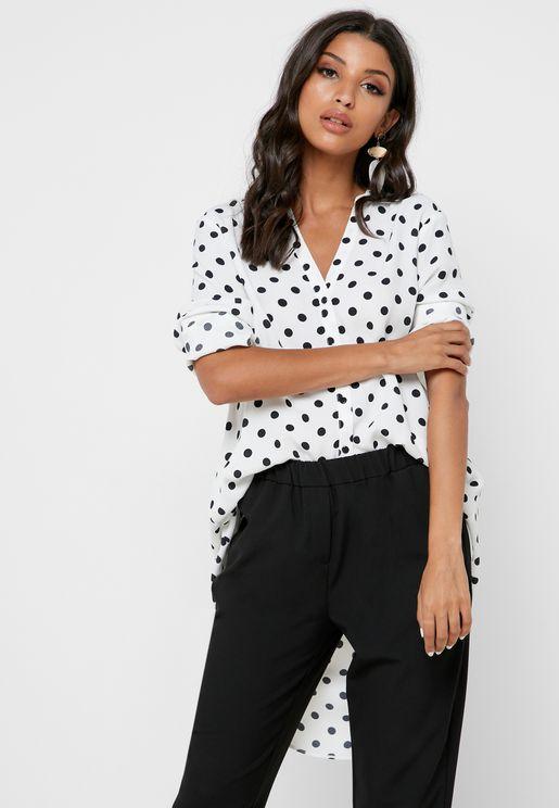 Printed High Low Shirt