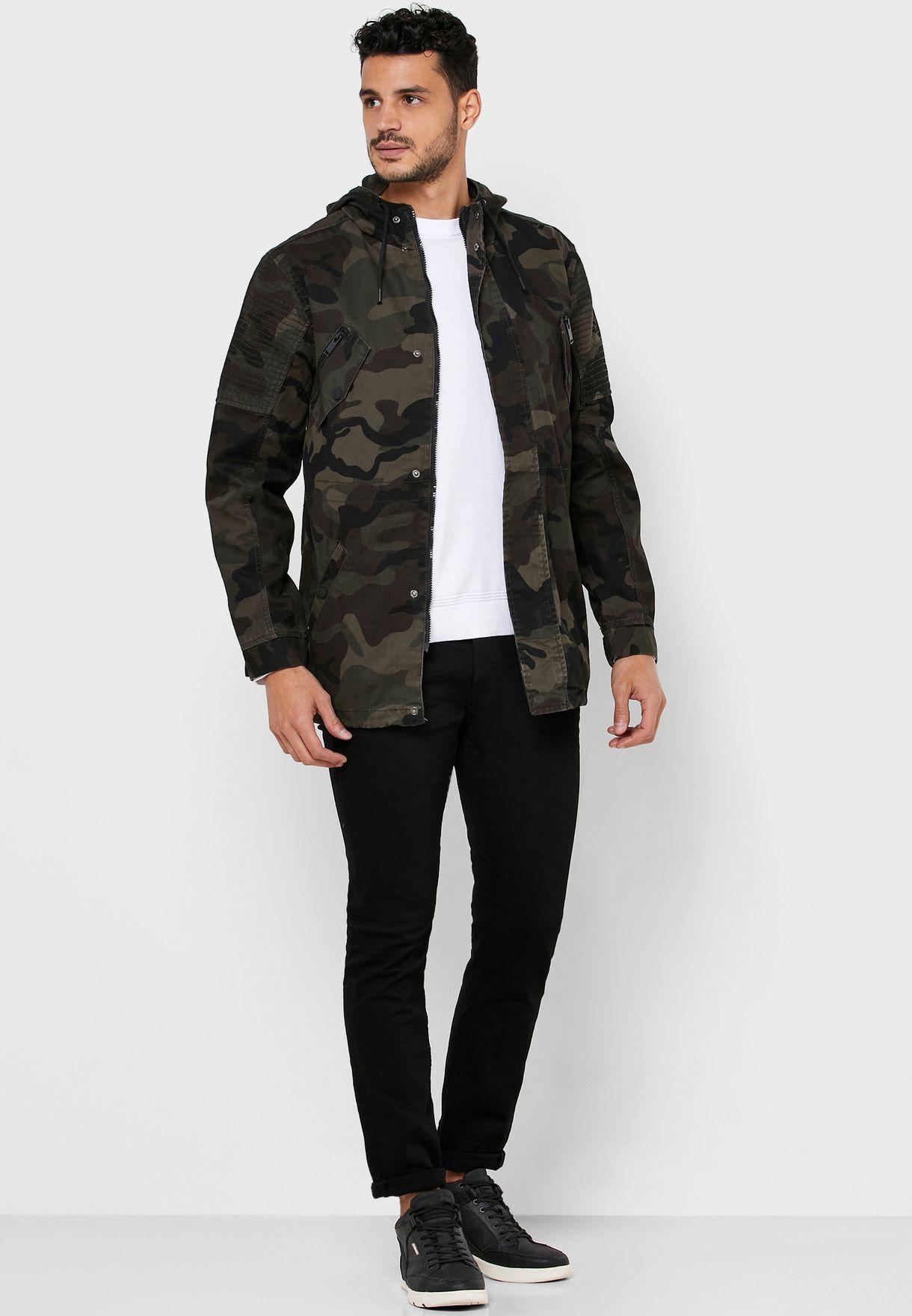 Camo Zip Through Hoodie Coat