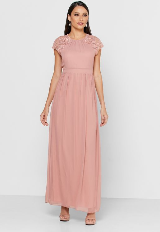 Lace Sleeve Back Keyhole Dress