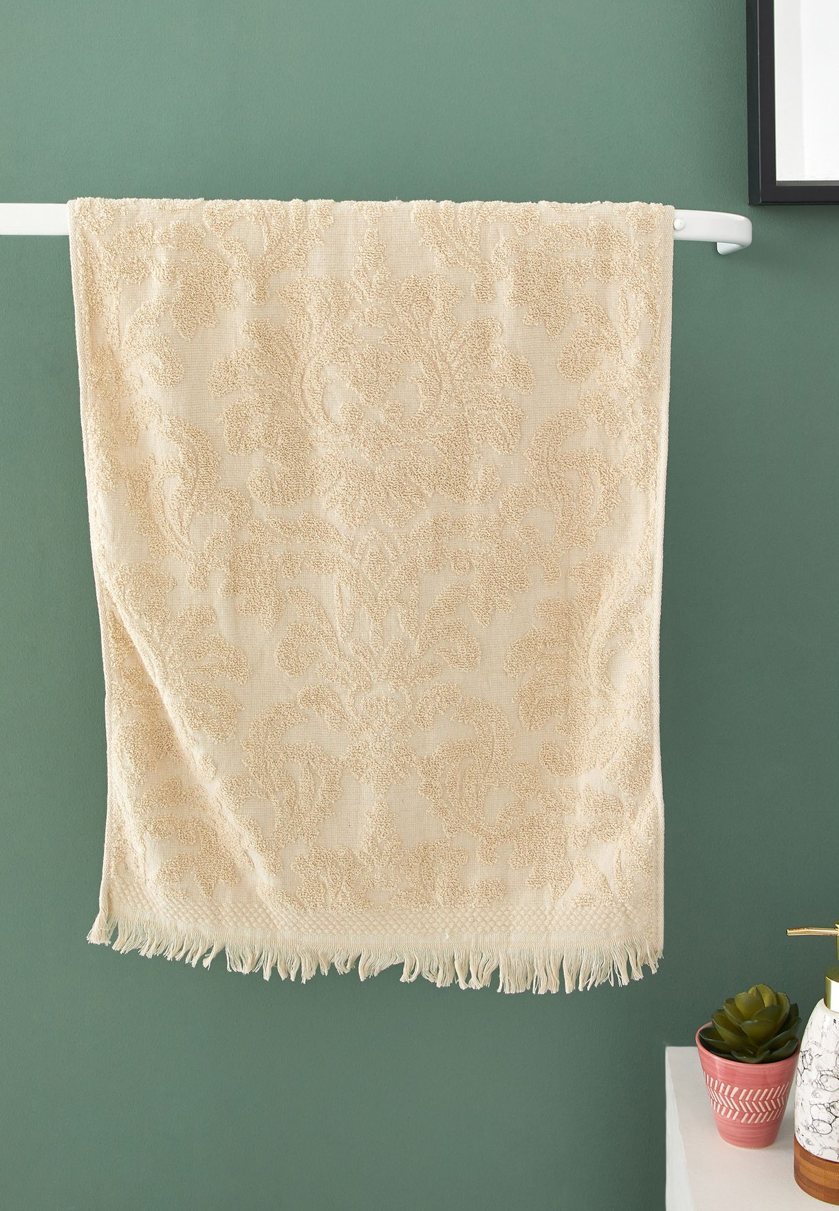 Cream Patterned Hand Towel