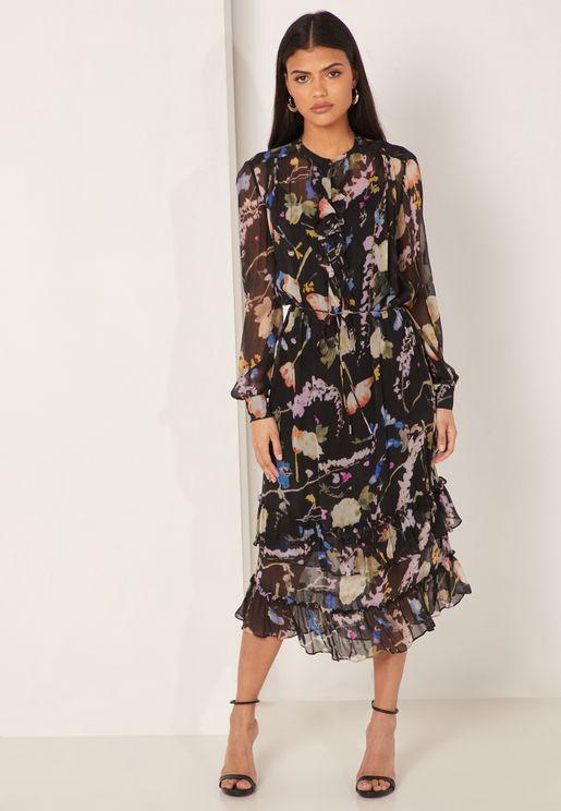 Sadie Ruffle Hem Floral Print Dress