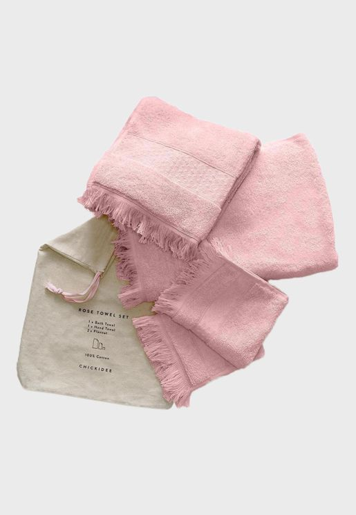 Set of 4 Towels With Reusable Bag
