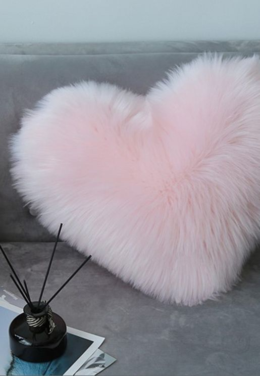 Faux Fur Heart Shaped Cushion With Insert 40Cm X 50Cm