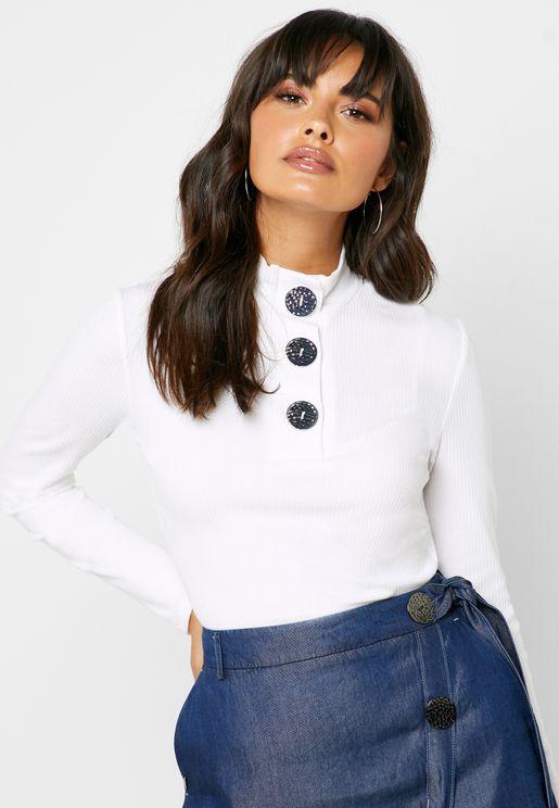 Button Detail High Neck Ribbed Sweatshirt
