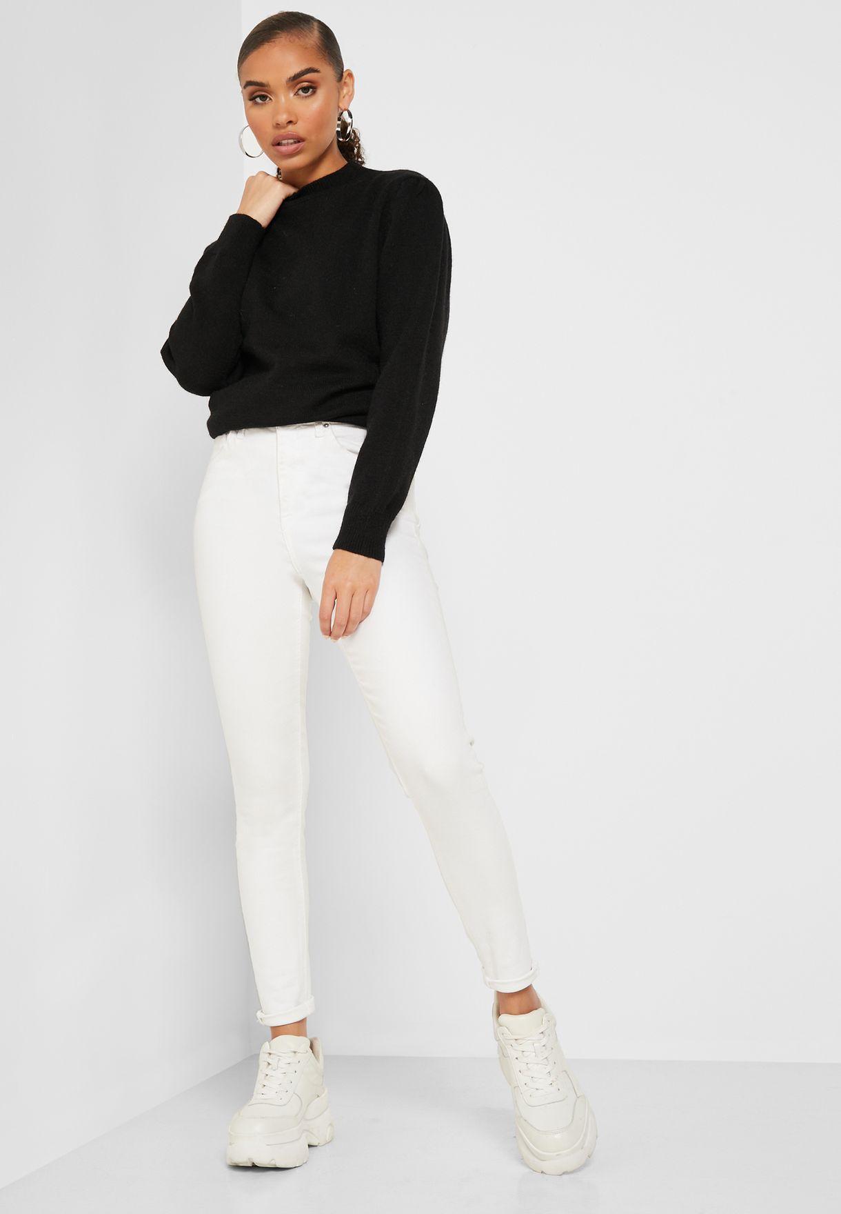 Ruched Shoulder Sweater
