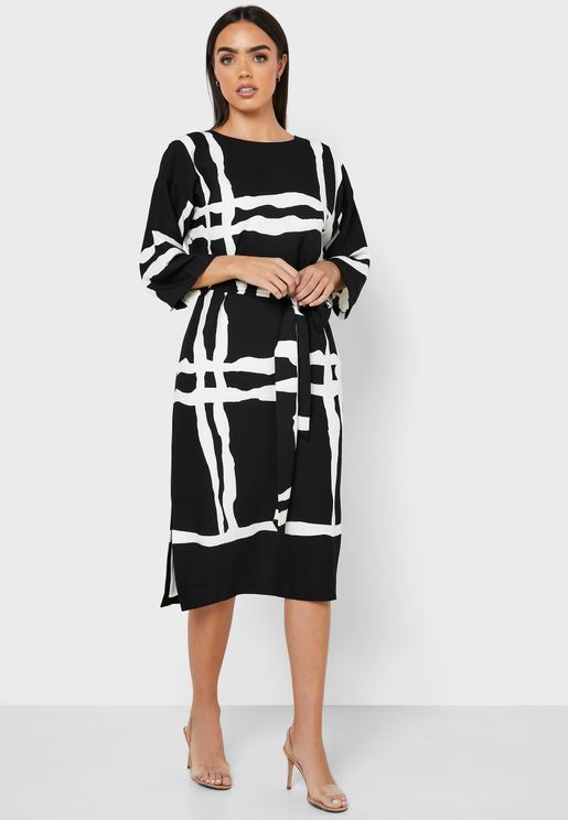 Tie Waist Checked Dress