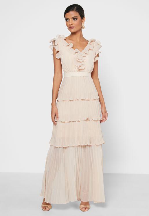 فستان مطبع بحواف غير متناظرة