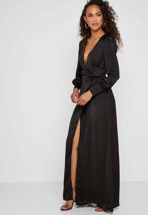 Side Split Plunge Maxi Dress