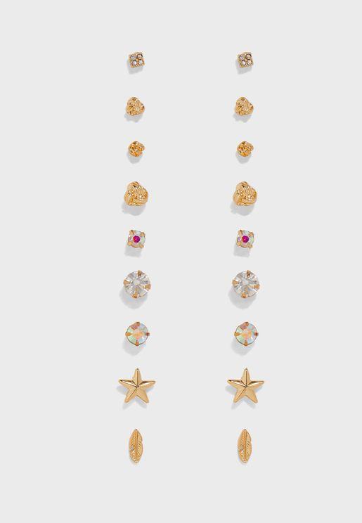 Stud Earrings 9pk multipack