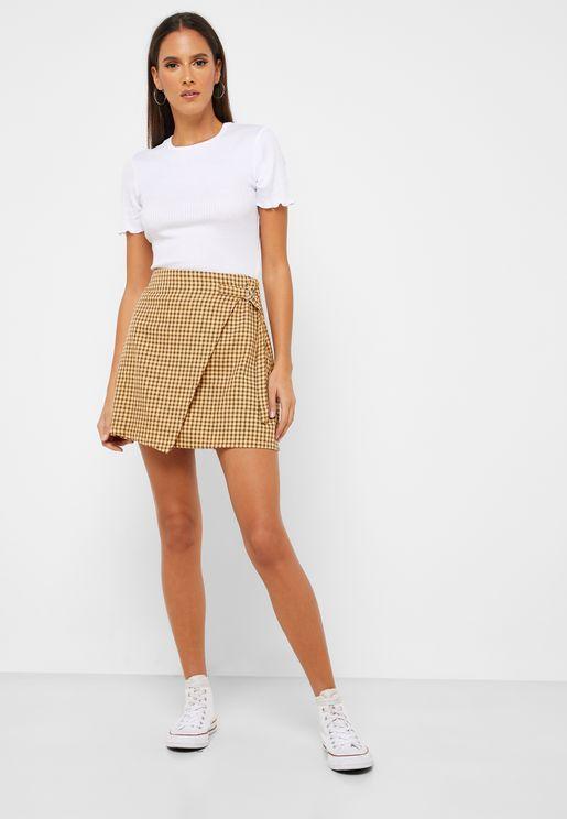 Checked Wrap Skirt