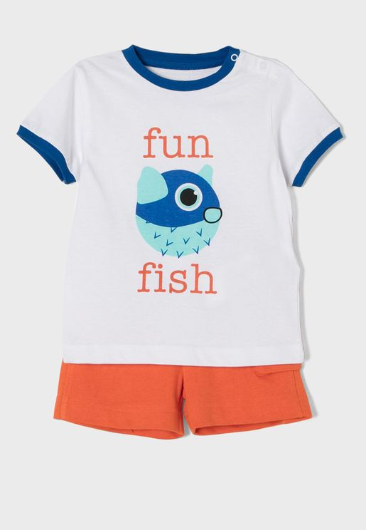 Infant Fun Fish T-Shirt + Shorts Set
