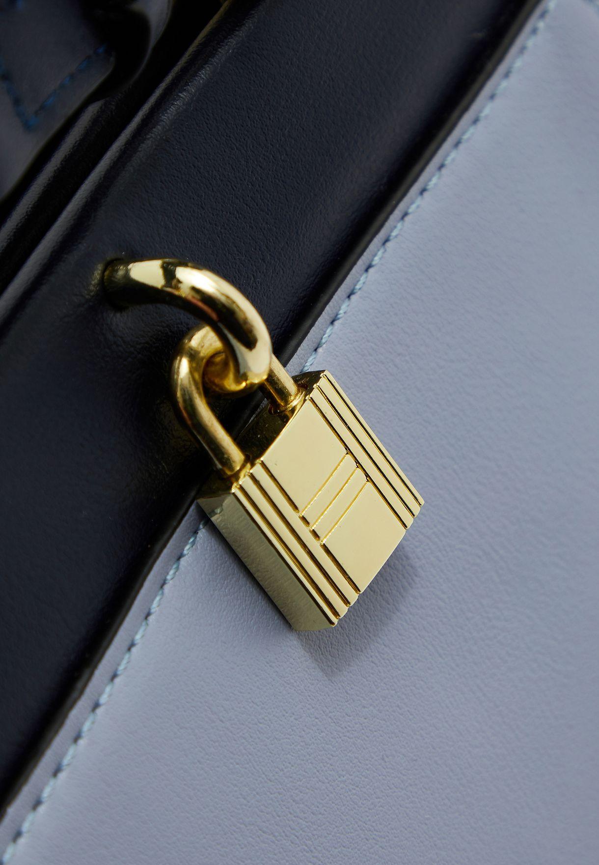 Panel and Lock Detail Handbag