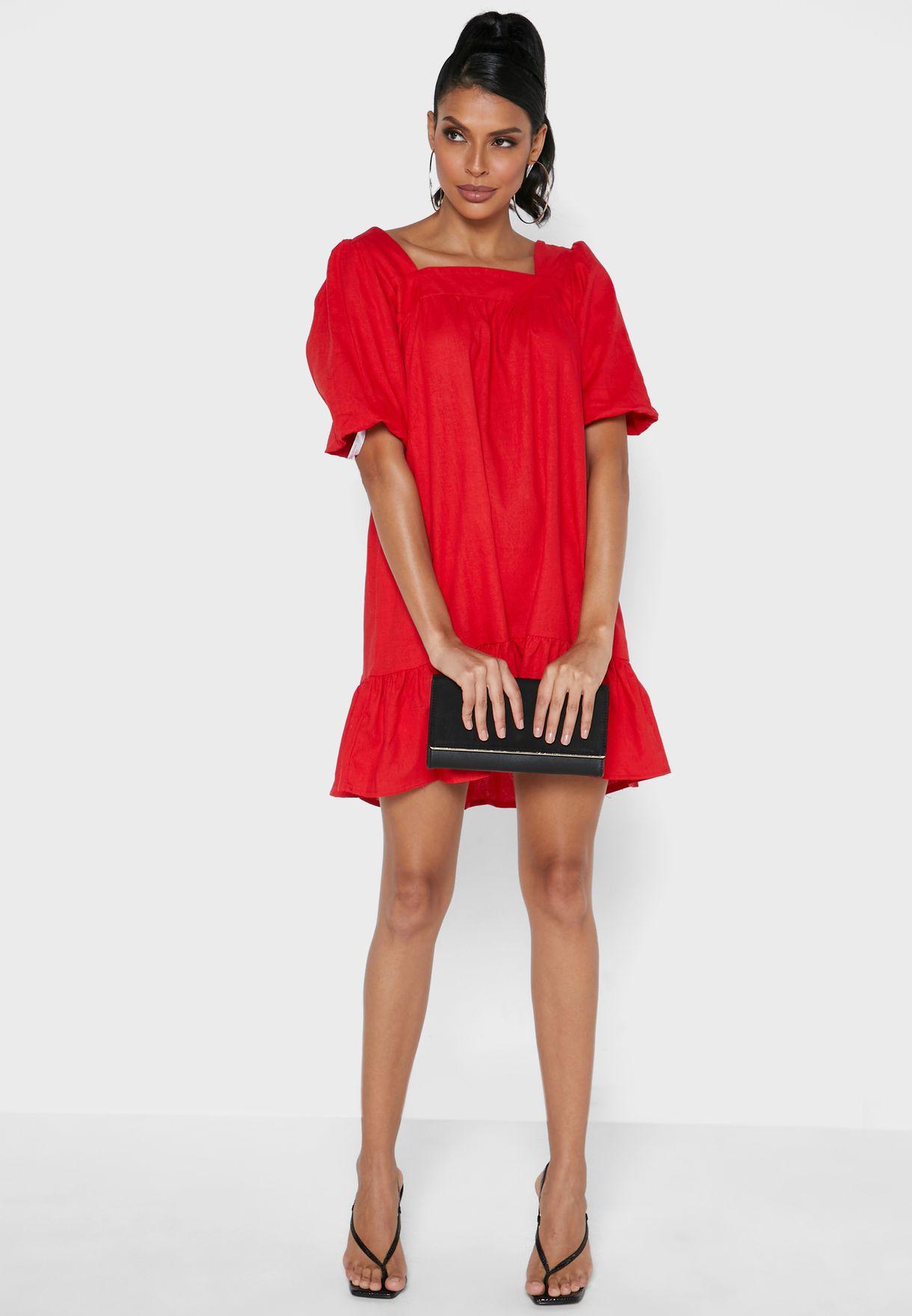 Puff Sleeve Tiered Hem Dress