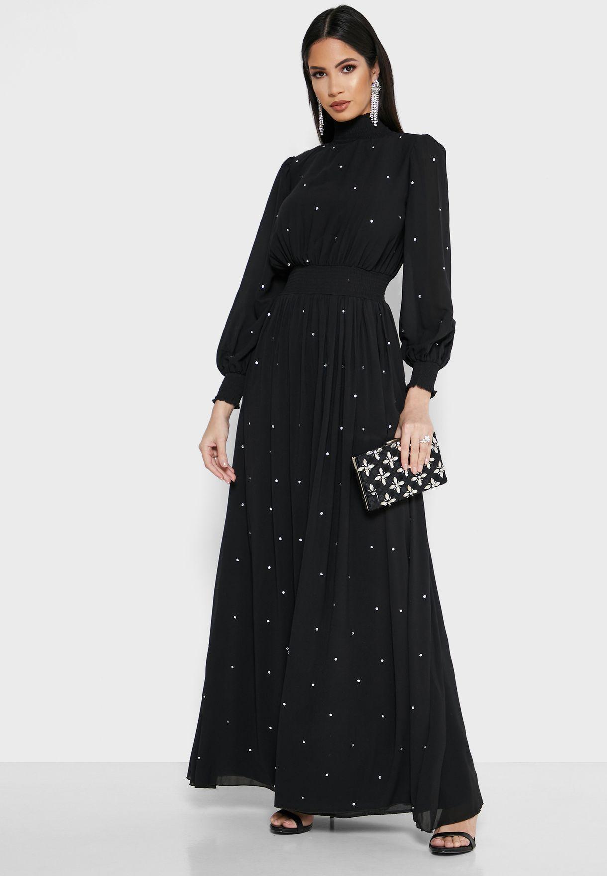 Embellished High Neck Maxi Dress