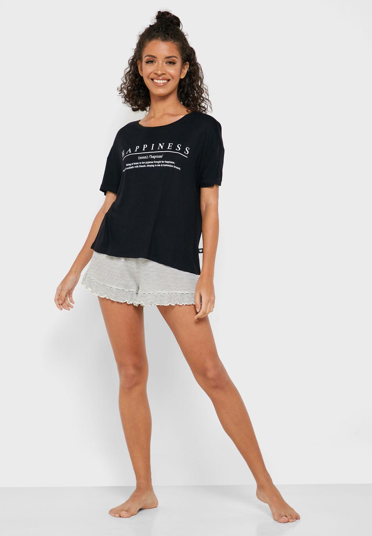 Slogan T-shirt and Shorts Set